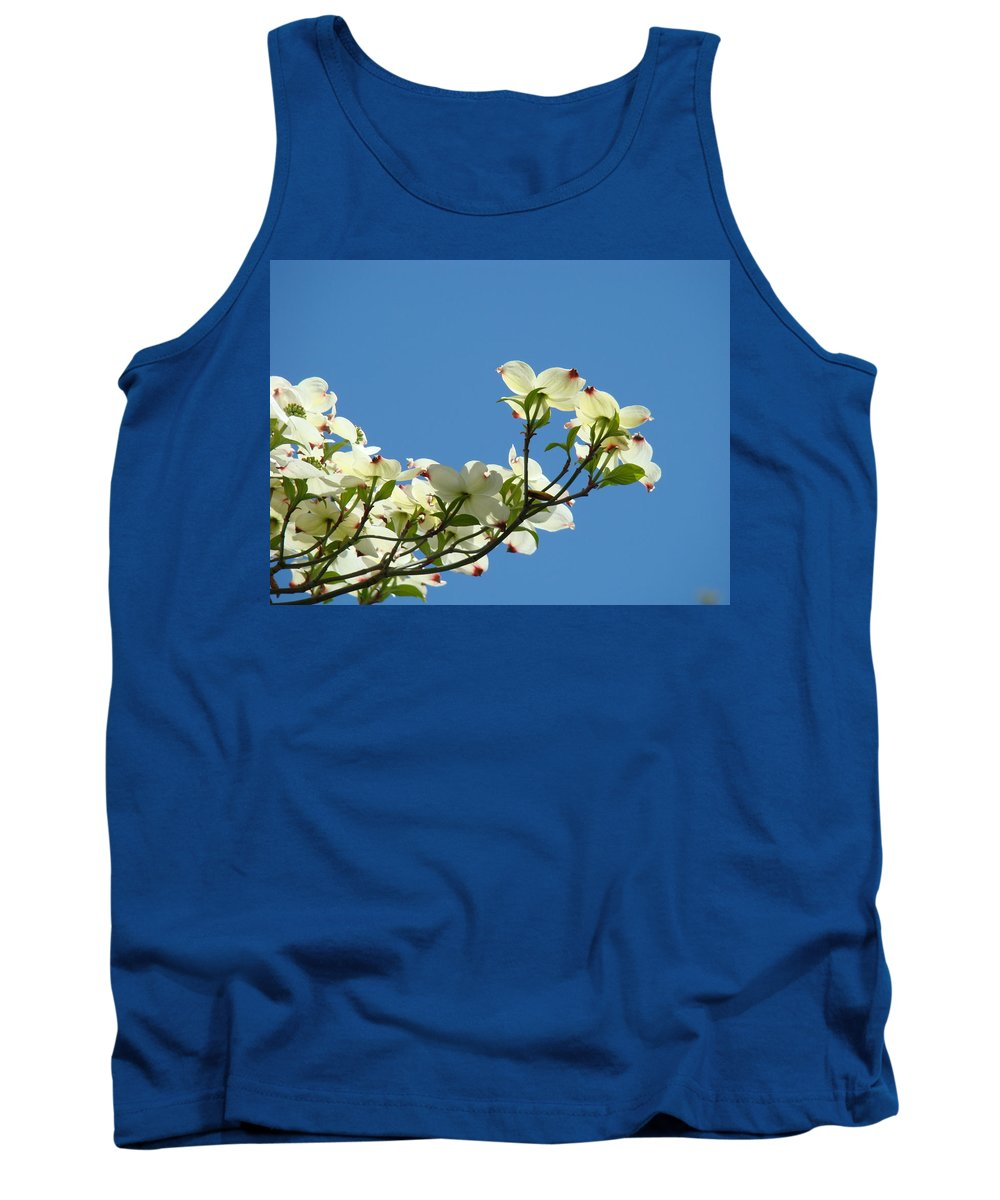 Dogwood Tank Top featuring the photograph Dogwood Flowers Art Prints White Flowering Dogwood Tree Baslee Troutman by Baslee Troutman