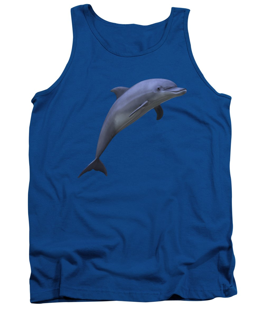 Dolphin Tank Top featuring the digital art Dolphin In Ocean Blue by Movie Poster Prints