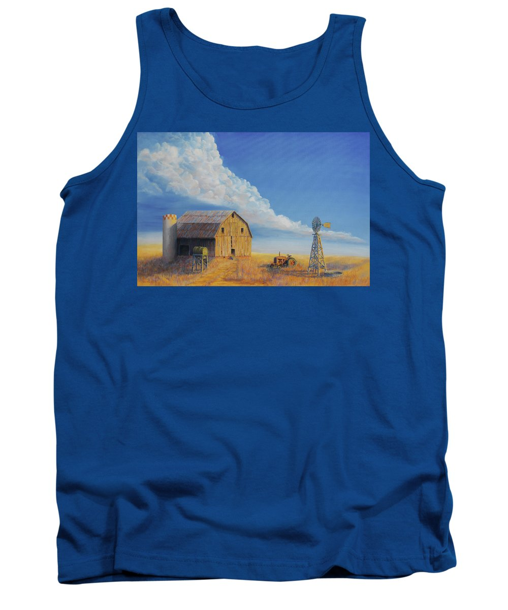 Barn Tank Top featuring the painting Downtown Wyoming by Jerry McElroy