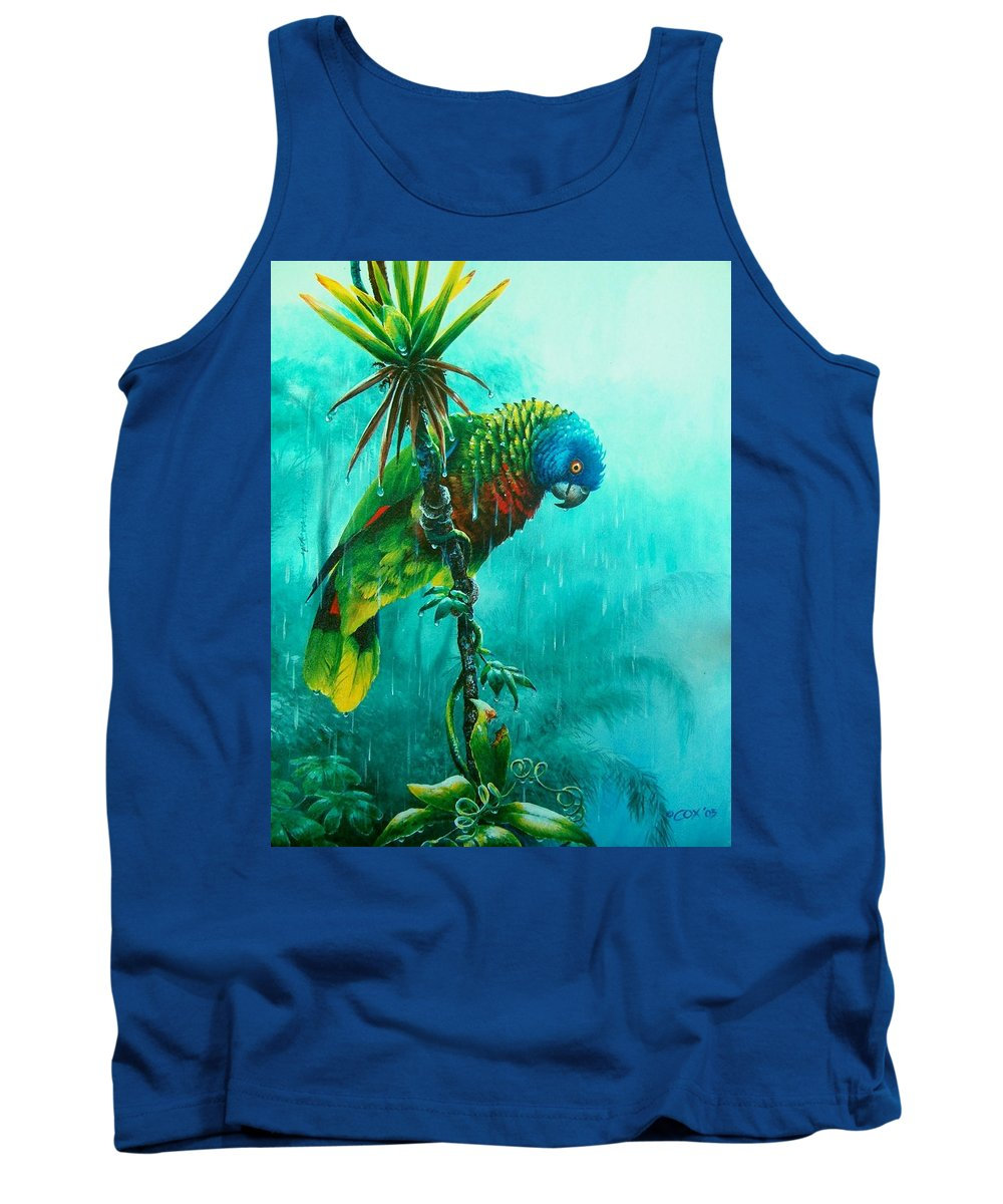Chris Cox Tank Top featuring the painting Drenched - St. Lucia Parrot by Christopher Cox
