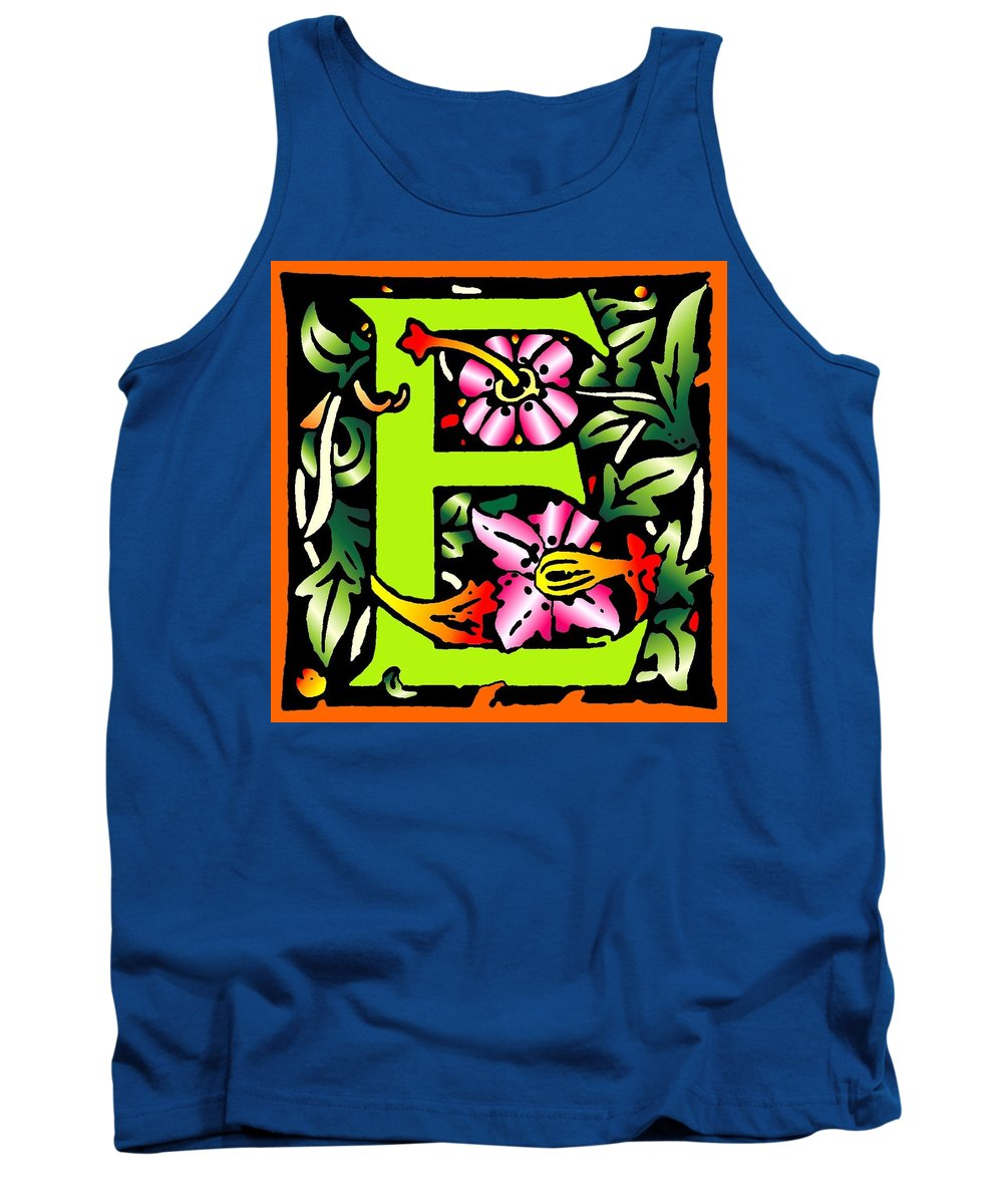 Alphabet Tank Top featuring the digital art E In Green by Kathleen Sepulveda