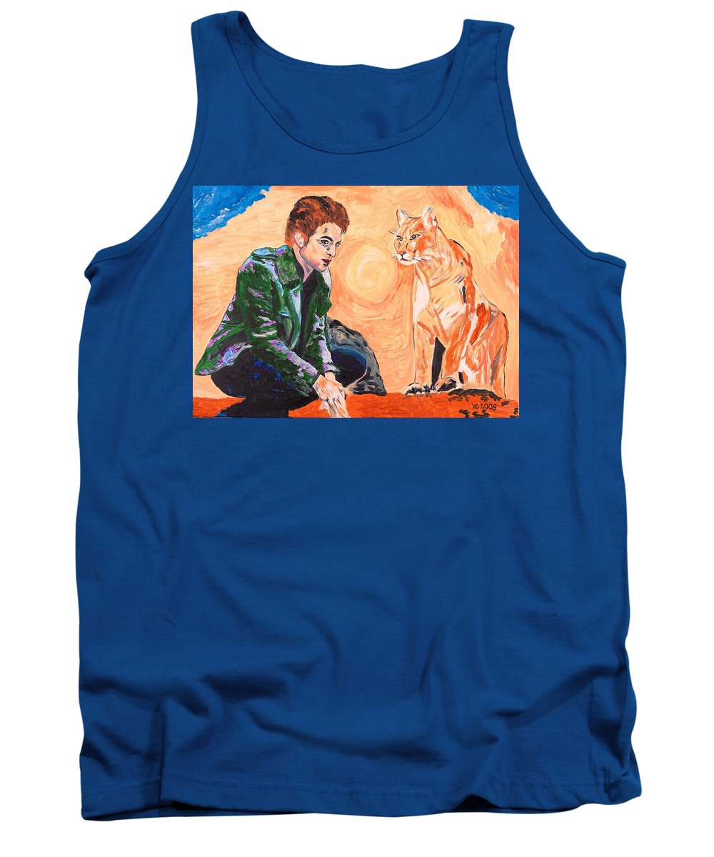 Edward Tank Top featuring the painting Edward Cullen And His Diet by Valerie Ornstein