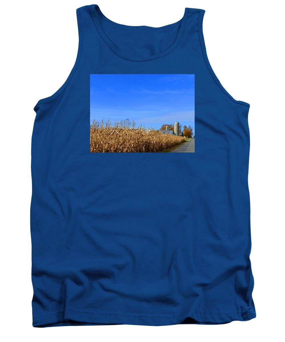 Landscape Tank Top featuring the photograph End Of Season Corn 2015 by Tina M Wenger