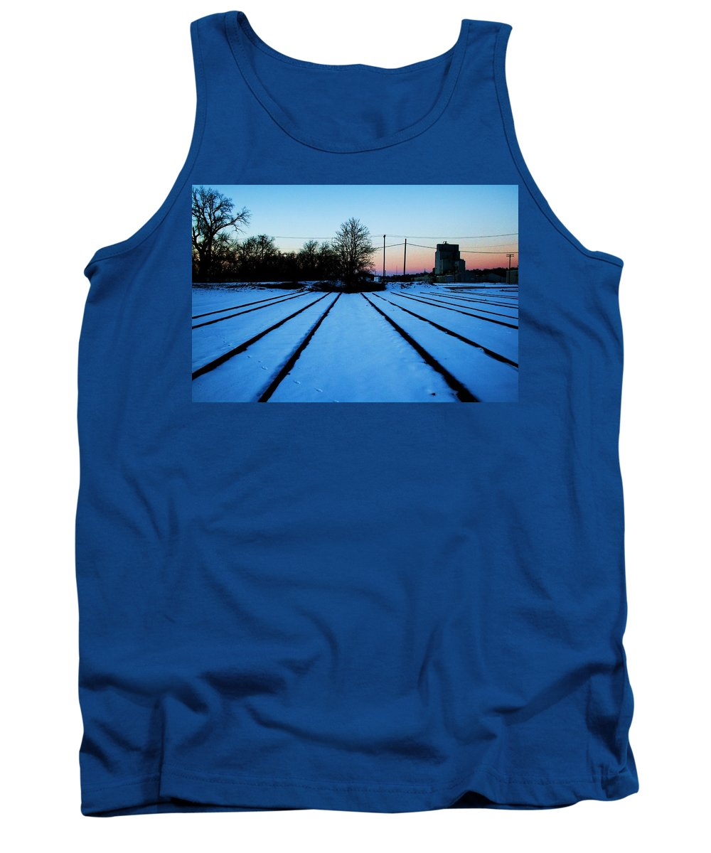 Sunset Tank Top featuring the photograph End Of The Tracks by Angus Hooper Iii