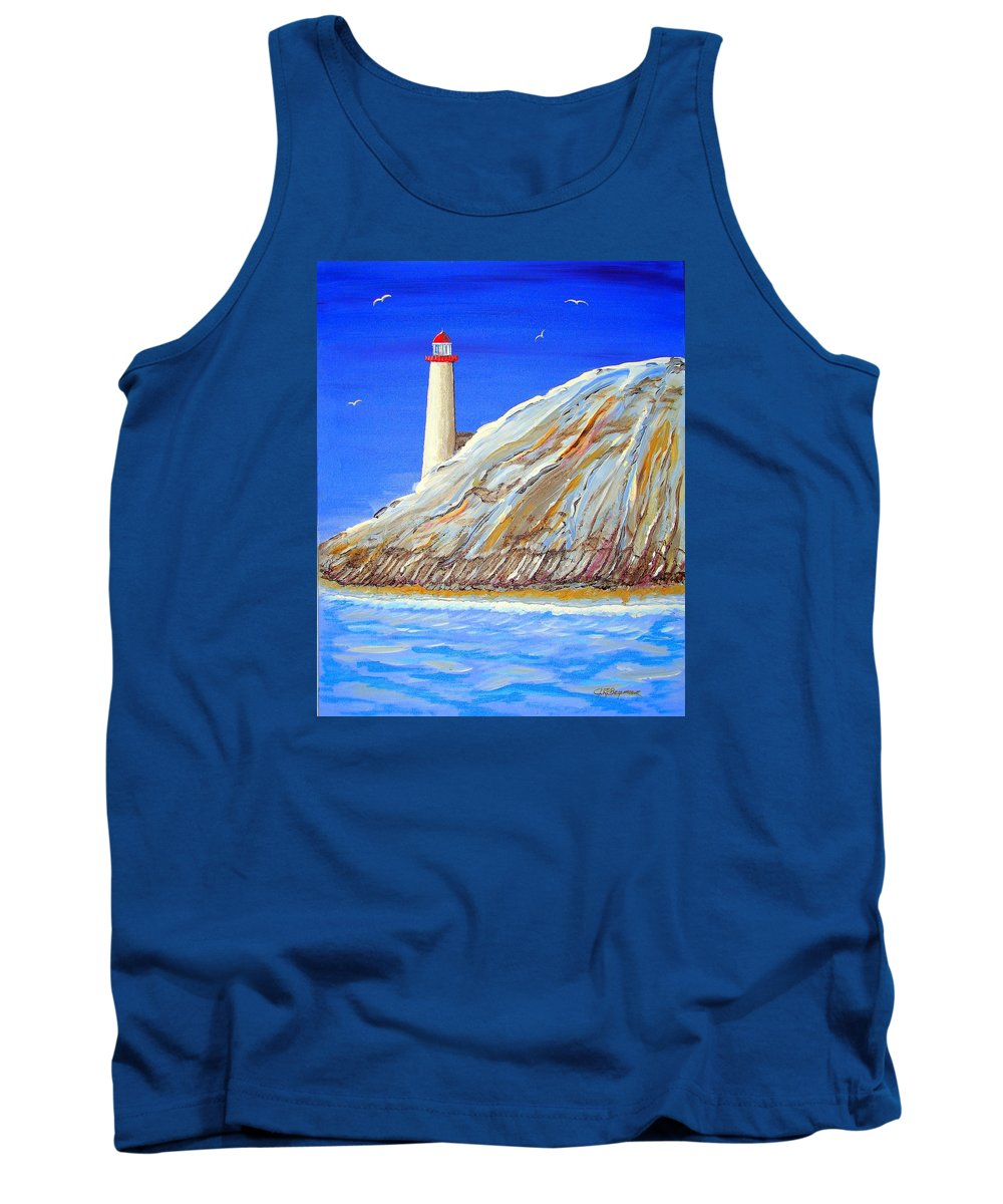 Lighthouse Tank Top featuring the painting Entering The Harbor by J R Seymour