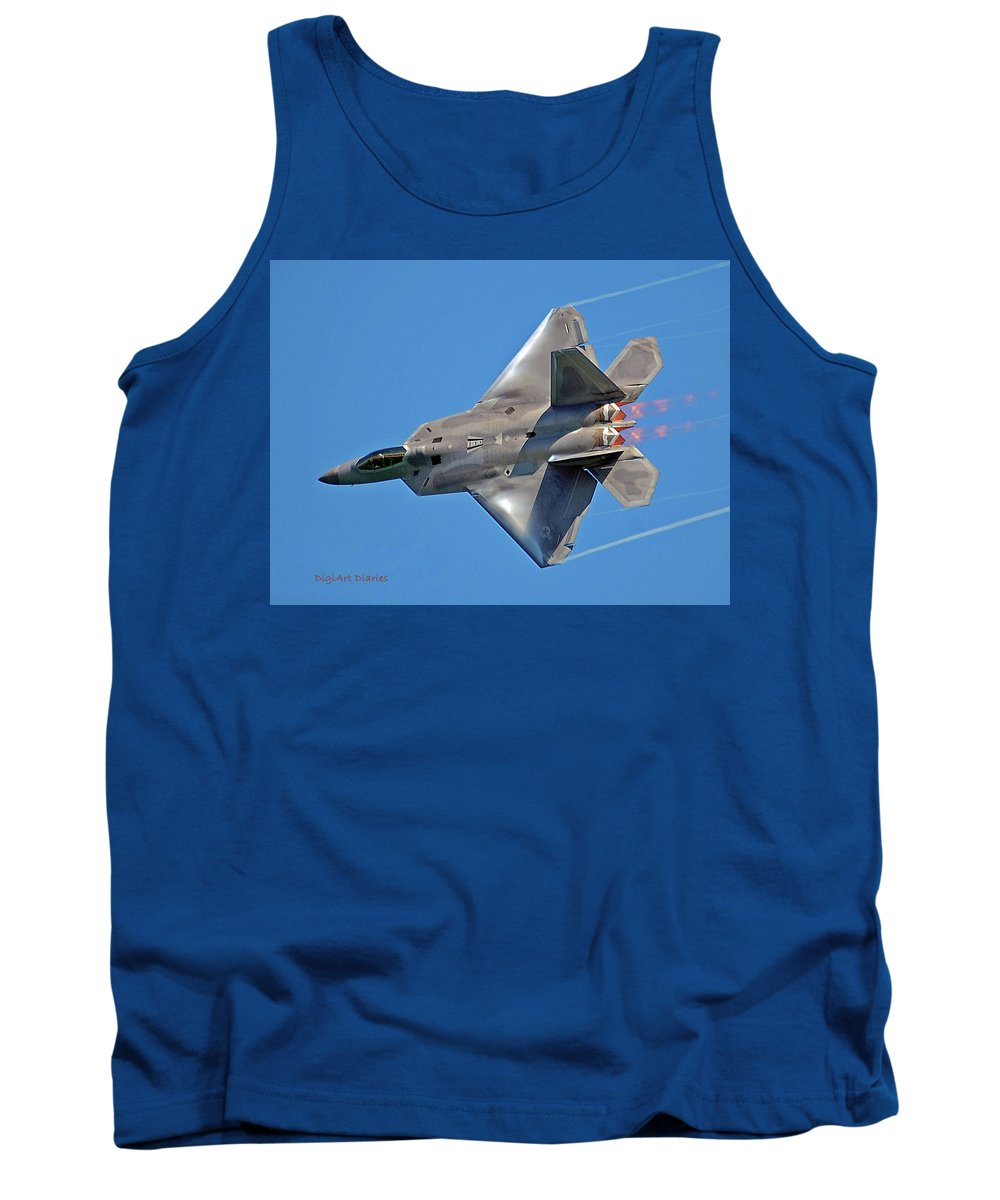 Jet Tank Top featuring the digital art Fa 22 Raptor From Air Show by DigiArt Diaries by Vicky B Fuller