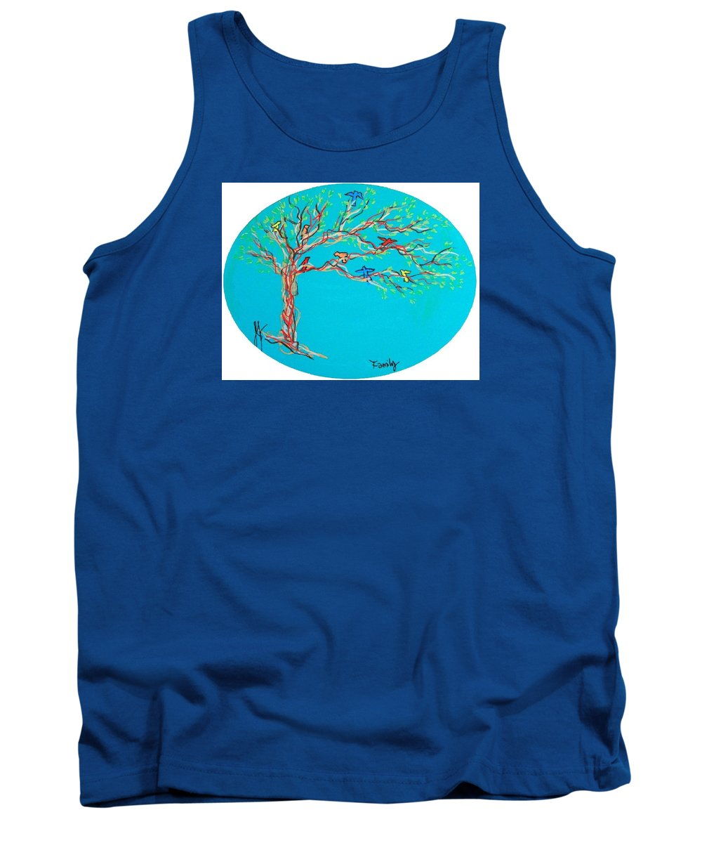 Tree Tank Top featuring the painting Family by Jim Harris