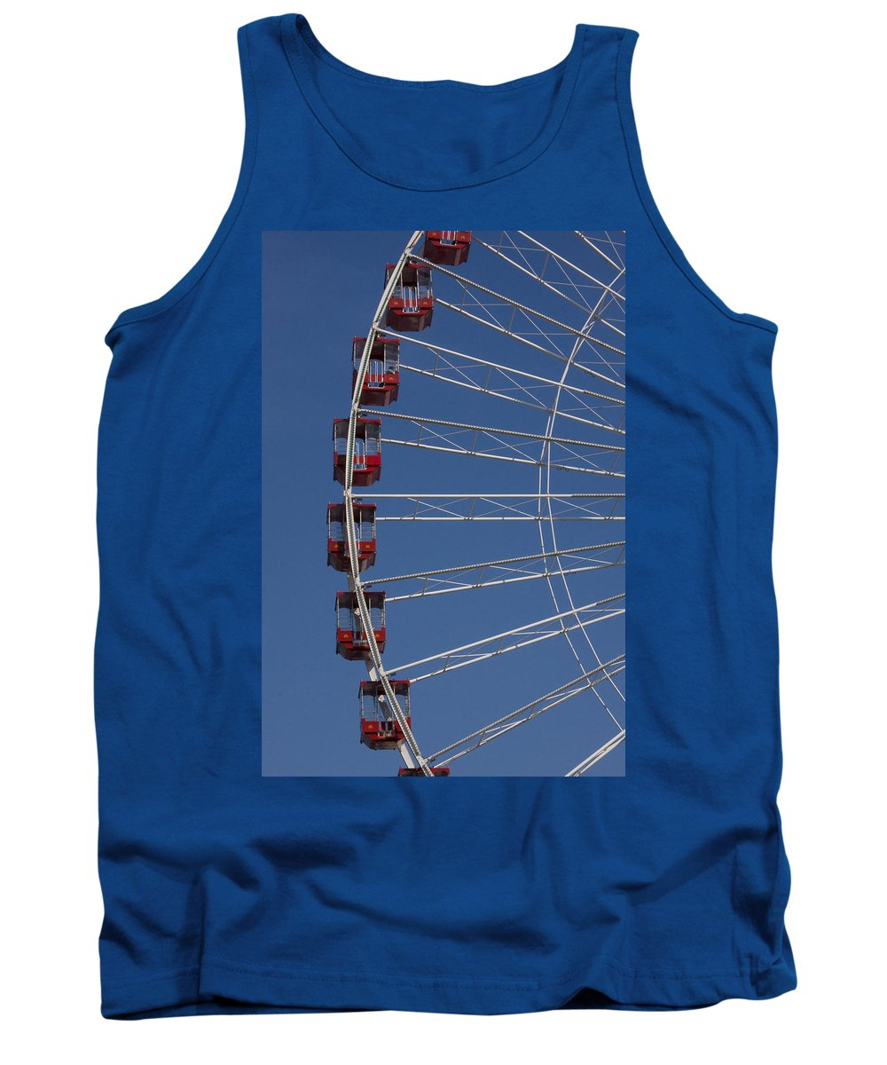 Chicago Windy City Ferris Wheel Tourist Tourism Travel Attraction Tank Top featuring the photograph Ferris Wheel by Andrei Shliakhau