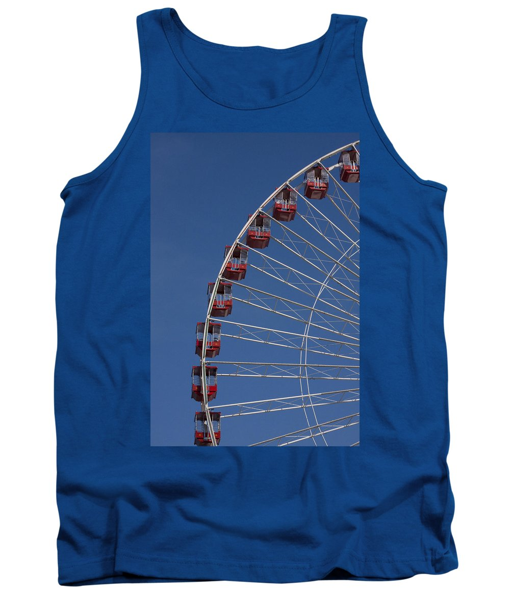 Chicago Navy Pier Windy City Ferris Wheel Attraction Blue Sky Red Tourist Tourism Travel Tank Top featuring the photograph Ferris Wheel II by Andrei Shliakhau