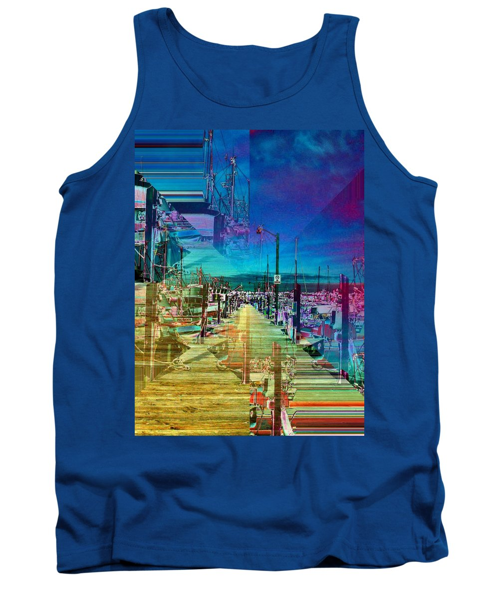 Seattle Tank Top featuring the digital art Fishermans Terminal Pier 2 by Tim Allen