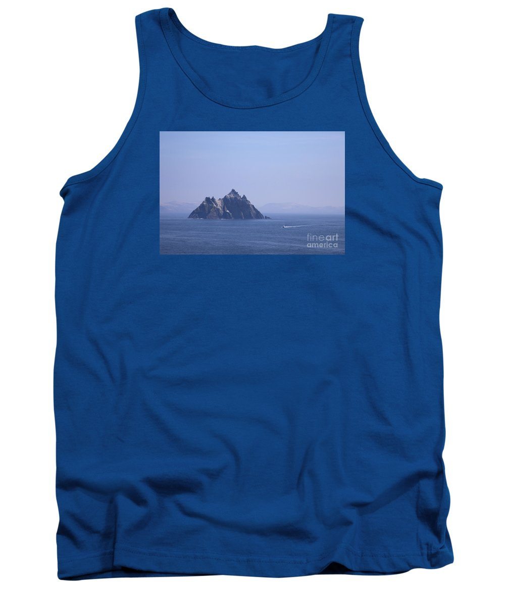 Fishing Tank Top featuring the photograph Fishing Boat Passing Little Skellig, County Kerry, In Spring Sunshine, Ireland by Peter Barritt