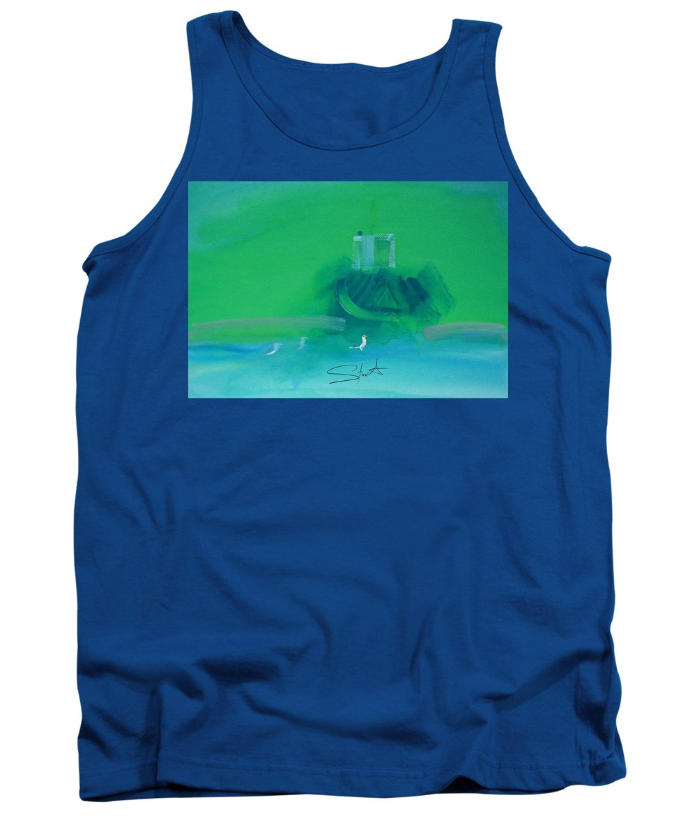 Fishing Boat Tank Top featuring the painting Fishing Boat With Seagulls by Charles Stuart