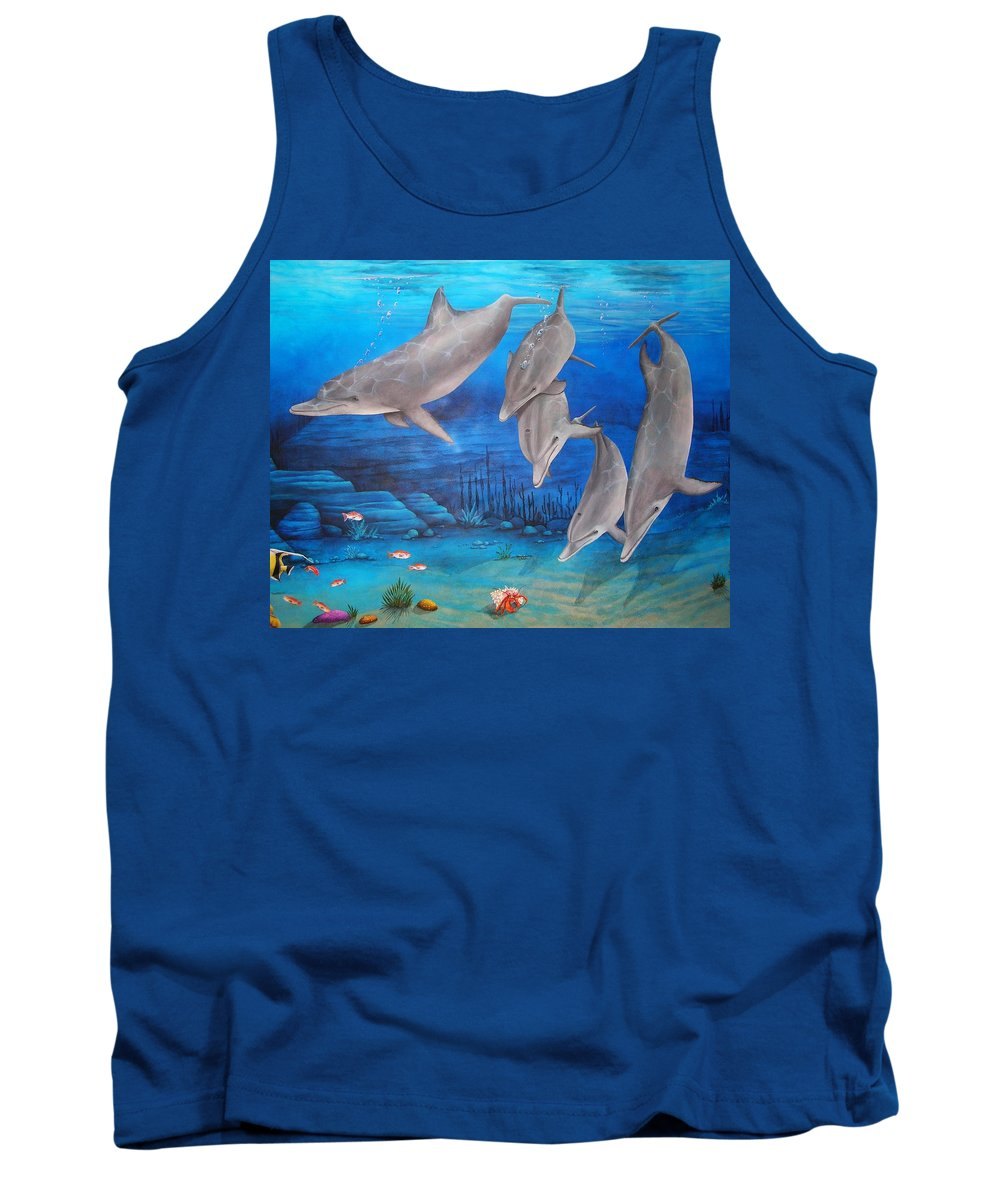 Dolphin Tank Top featuring the painting Five Friends by Cindy D Chinn