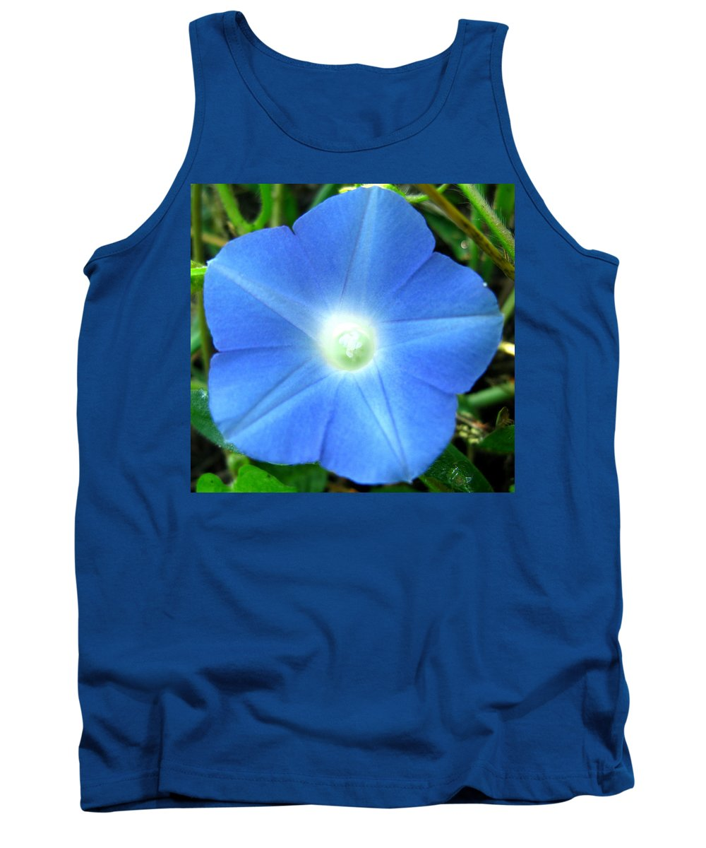Blue Flower Photograph Tank Top featuring the photograph Five Point Star Morning Glory by Brittany Horton