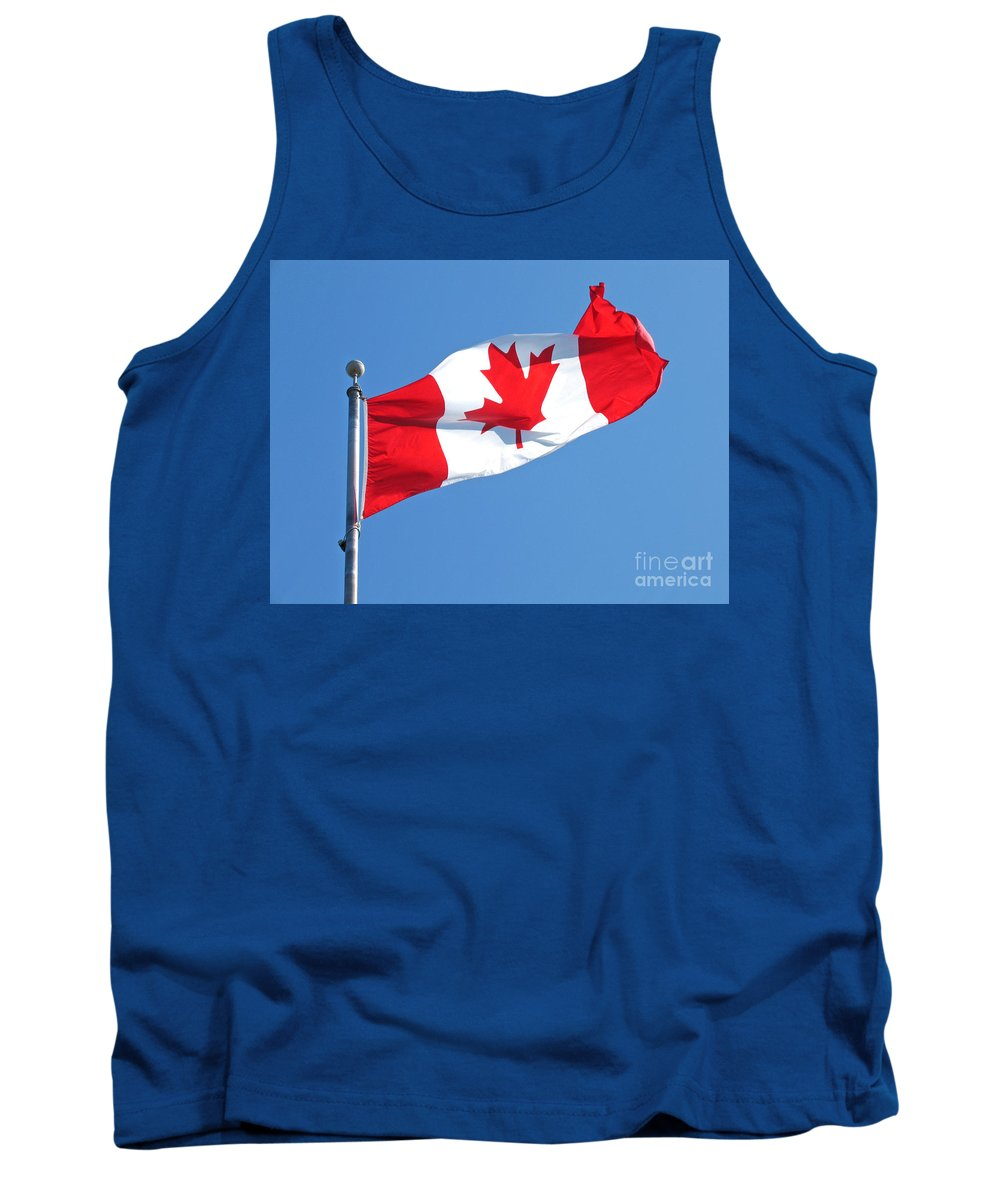 Flag Tank Top featuring the photograph Flag Of Canada by Ann Horn