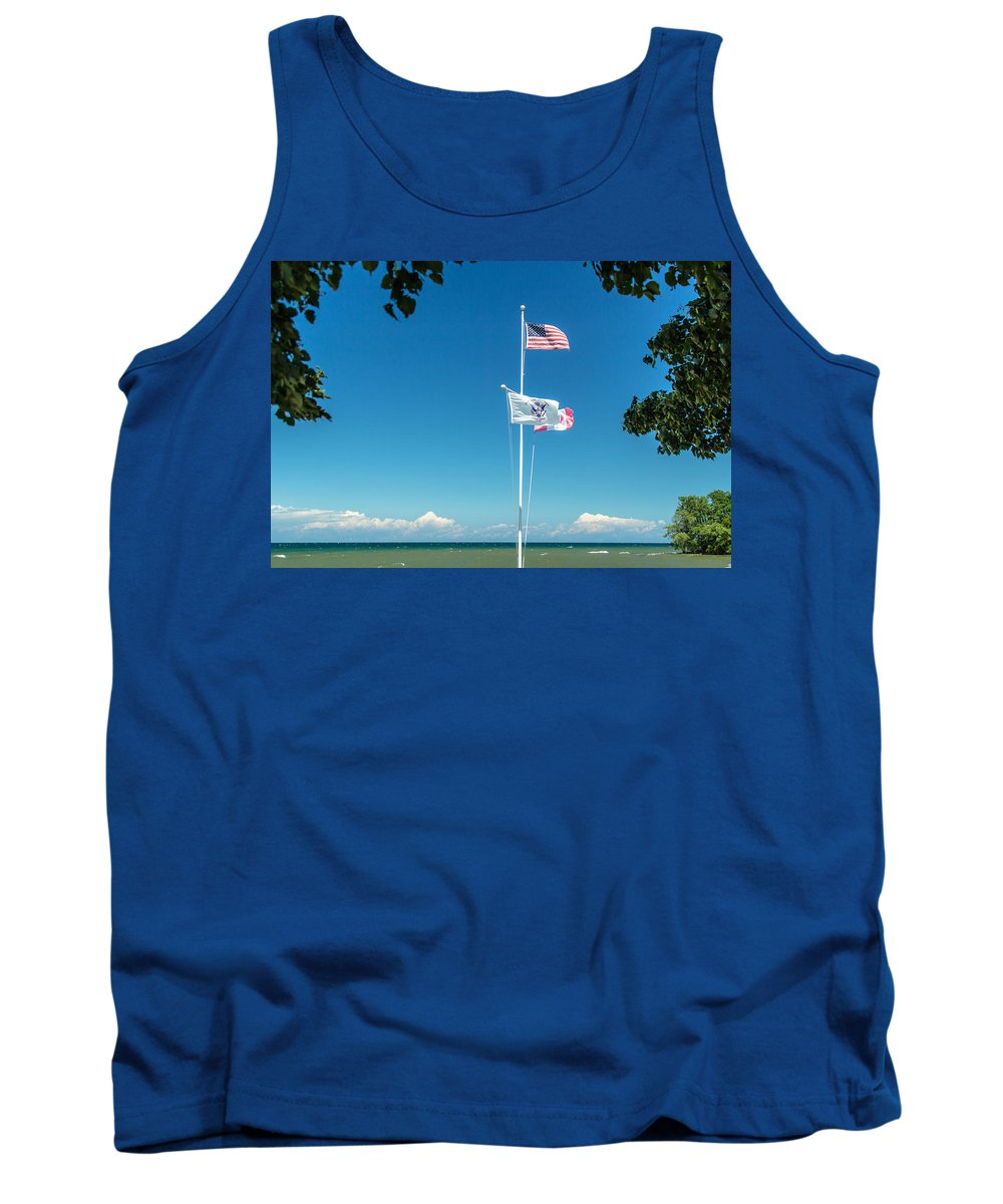 Flags Tank Top featuring the photograph Flags On The Shoreline by Lou Cardinale