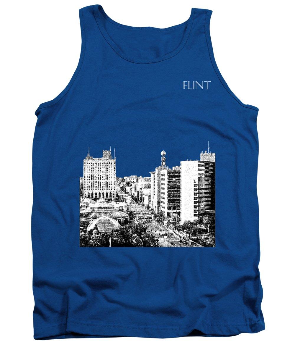 Architecture Tank Top featuring the digital art Flint Michigan Skyline - Aqua by DB Artist