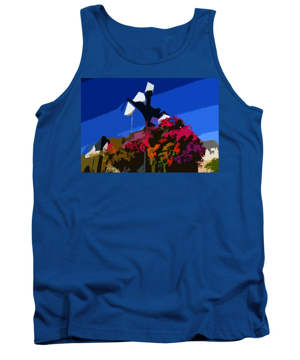 Flowers Tank Top featuring the painting Flowers On Lamppost by David Lee Thompson