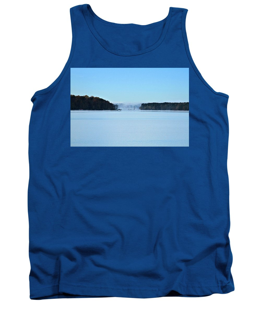Lake Tank Top featuring the photograph Fog In The Distance by John Lewis