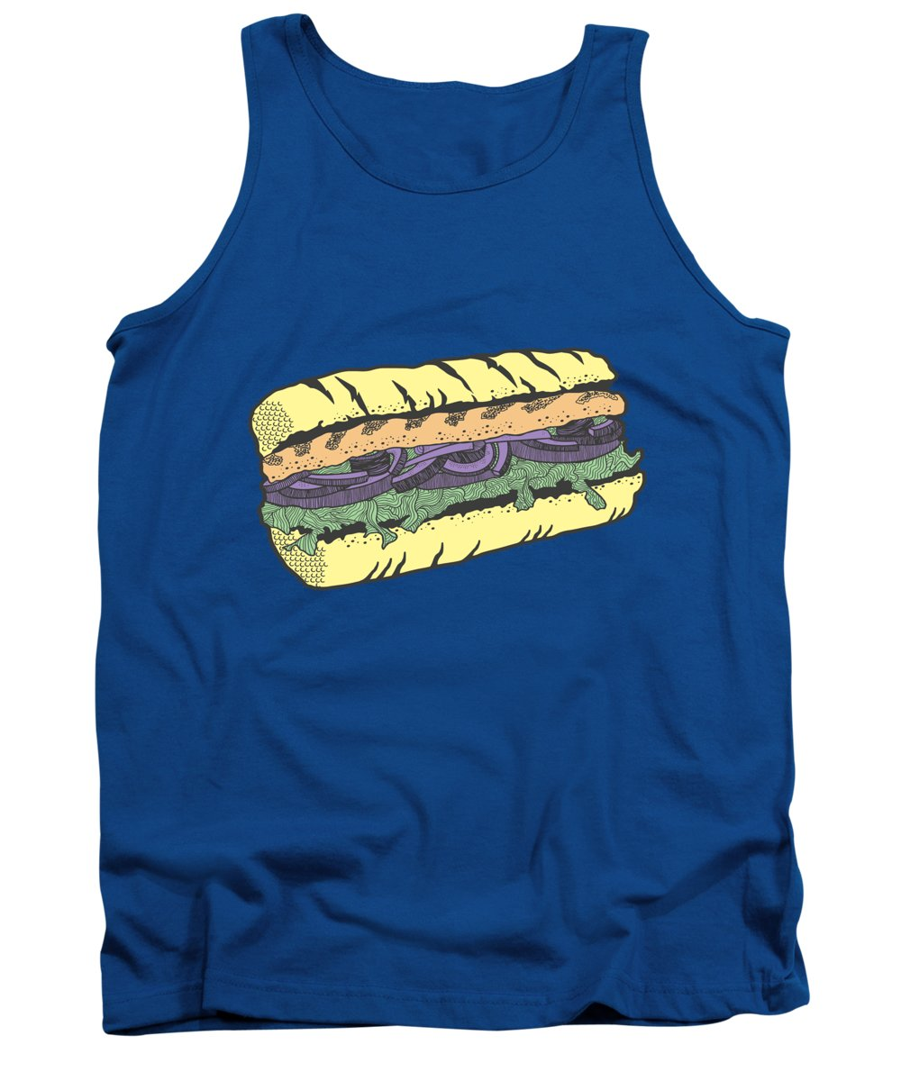 Sandwich Tank Top featuring the drawing Food Masquerade by Freshinkstain