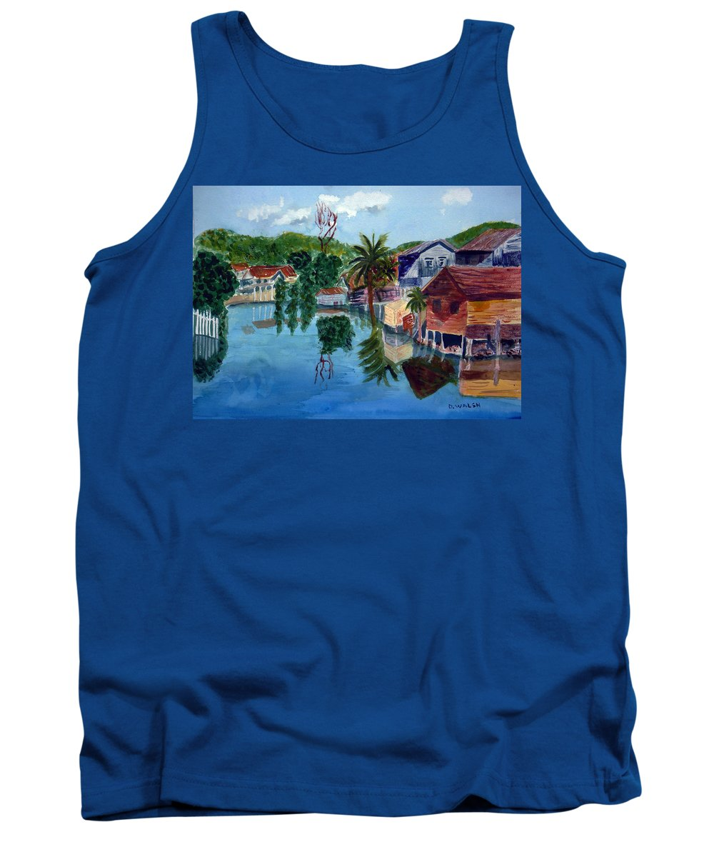French Harbo Tank Top featuring the painting French Harbor Isla De Roatan by Donna Walsh