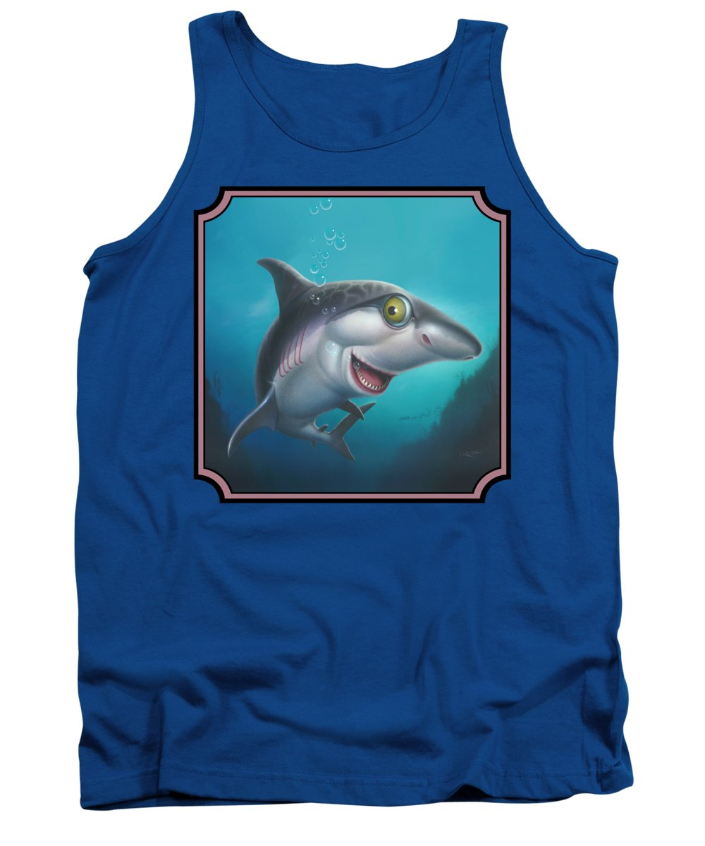 Shark Tank Top featuring the painting Friendly Shark Cartoony Cartoon - Under Sea - Square Format by Walt Curlee