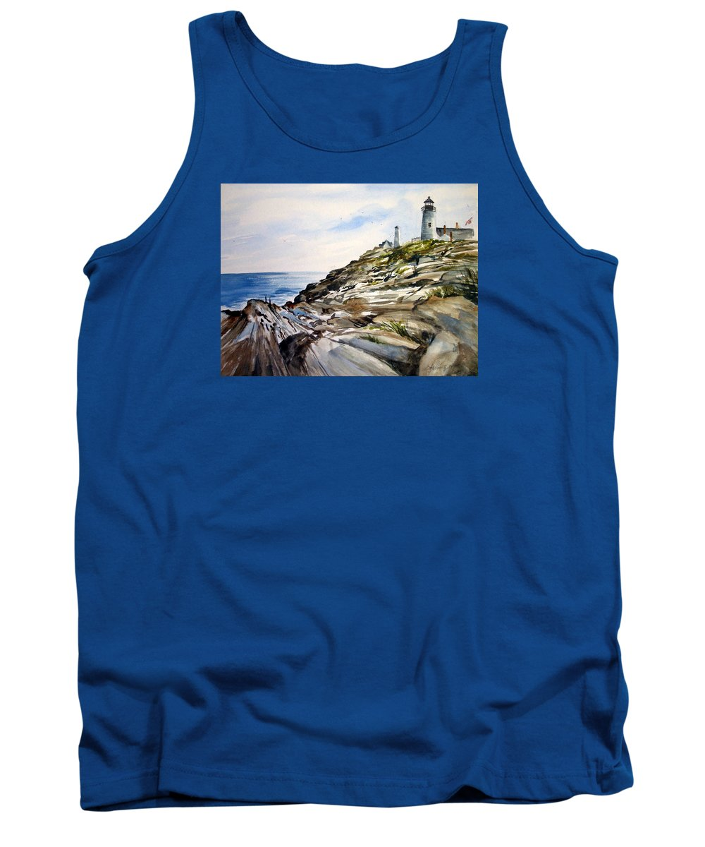 Pemaquid Light House;rocks;ocean;maine;pemaquid;light;lighthouse; Tank Top featuring the painting From The Rocks Below by Lois Mountz