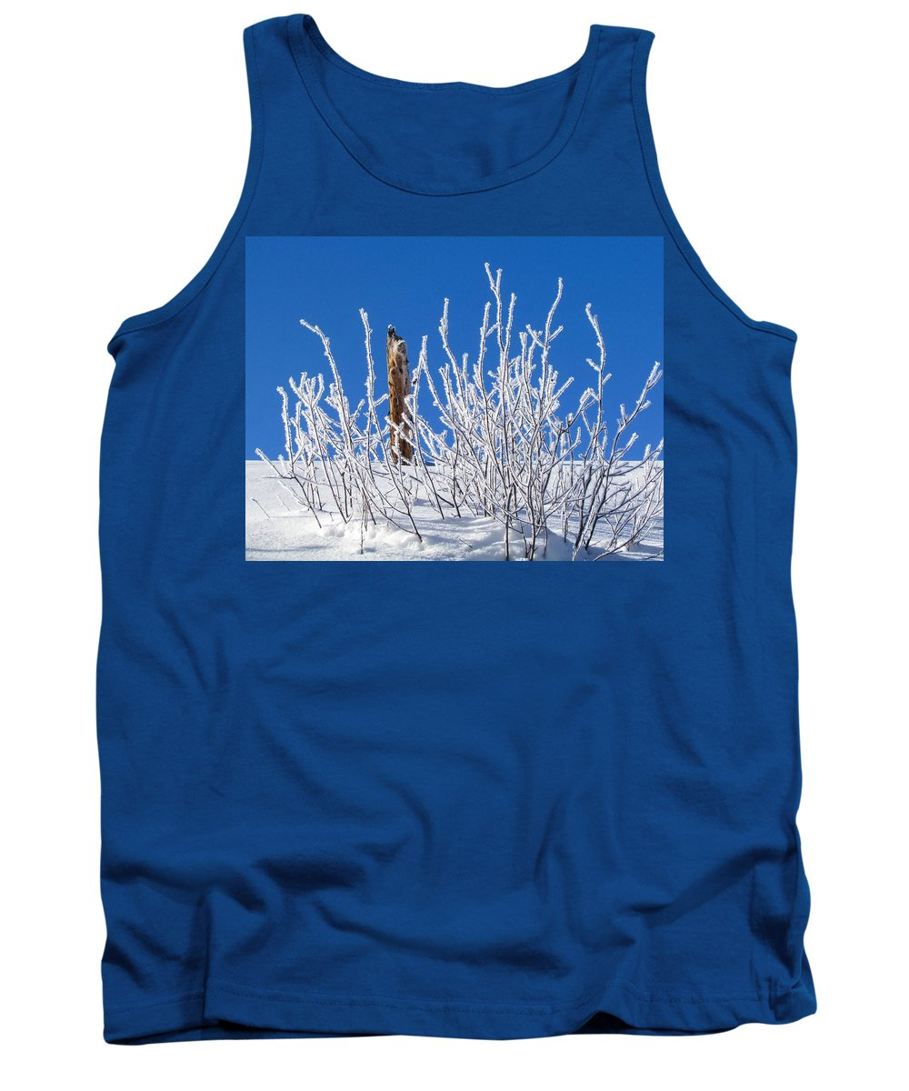 Frozen Tank Top featuring the photograph Frozen Fence Post by LeAnne Perry
