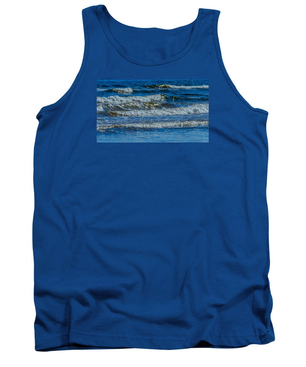 Blue Water Tank Top featuring the photograph Gentle Roll Of The Waves by Debra Martz