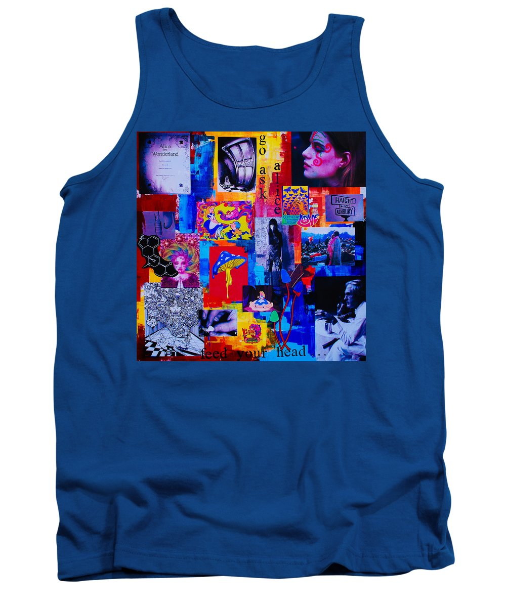 Go Ask Alice Tank Top featuring the painting Go Ask Alice by Mary-Elise Art and Design