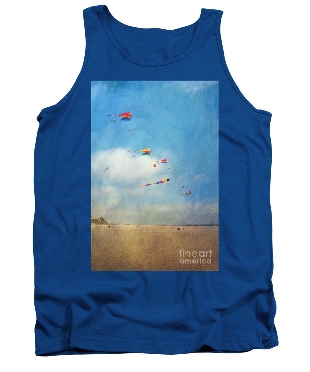 Go Fly A Kite Sand Windy Day Beach Tank Top featuring the photograph Go Fly A Kite by David Zanzinger