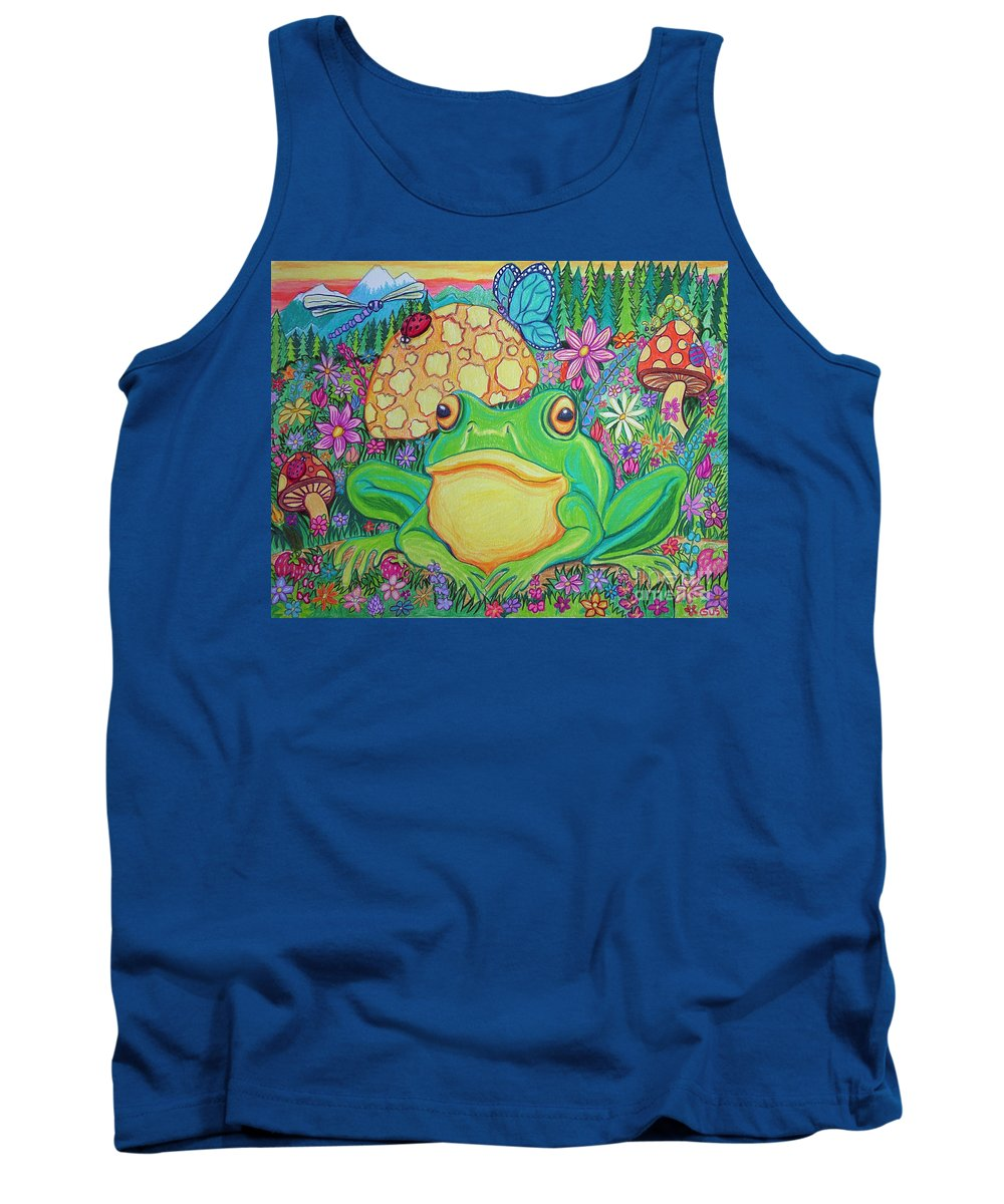 Green Frog Art Tank Top featuring the drawing Green Frog With Flowers And Mushrooms by Nick Gustafson
