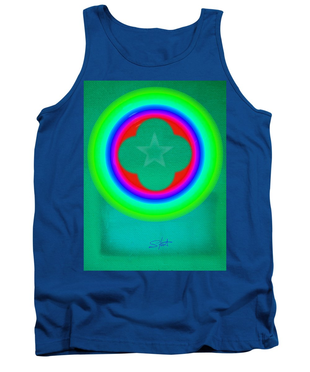 Abstract Tank Top featuring the painting Green See by Charles Stuart
