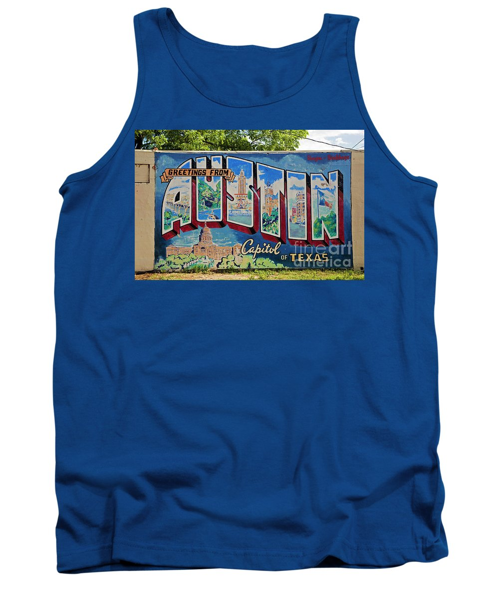 Austin Postcard Mural Tank Top featuring the photograph Greetings From Austin Capital Of Texas Postcard Mural by Austin Bat Tours