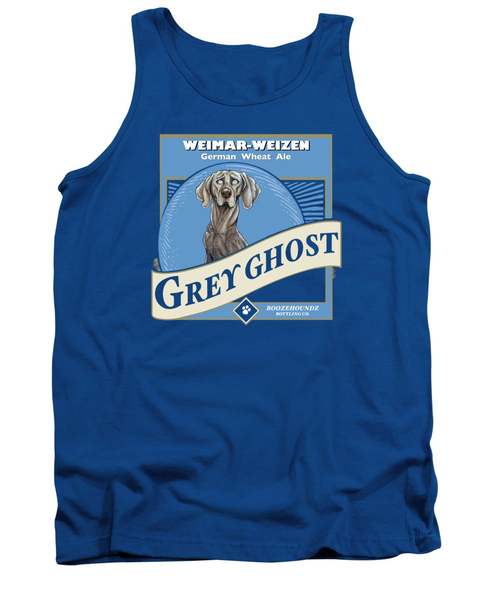 Beer Tank Top featuring the drawing Grey Ghost Weimar-Weizen Wheat Ale by Canine Caricatures Custom Merchandise
