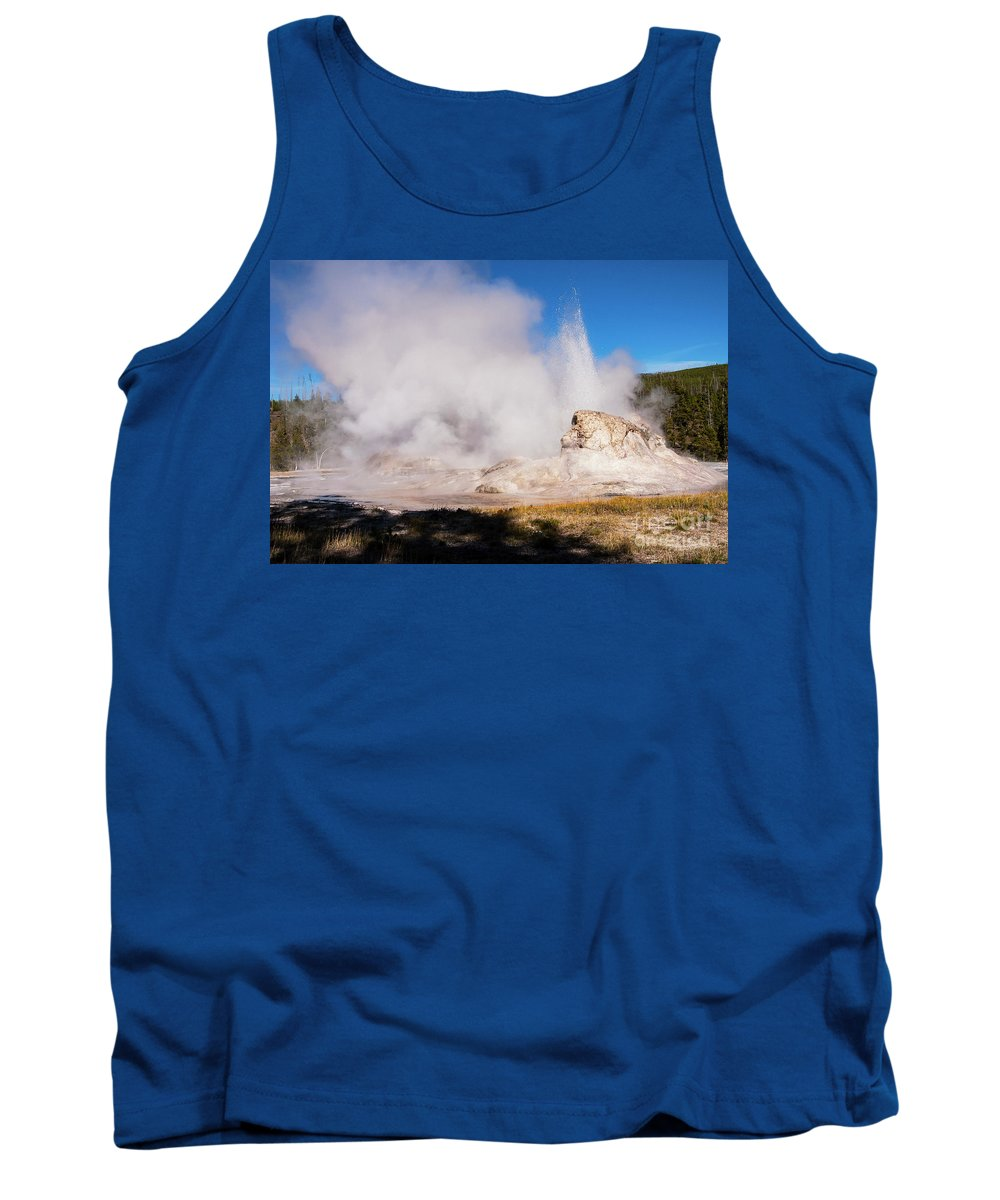 Yellowstone National Park Tank Top featuring the photograph Grotto Geyser Eruption And Spray by Bob Phillips