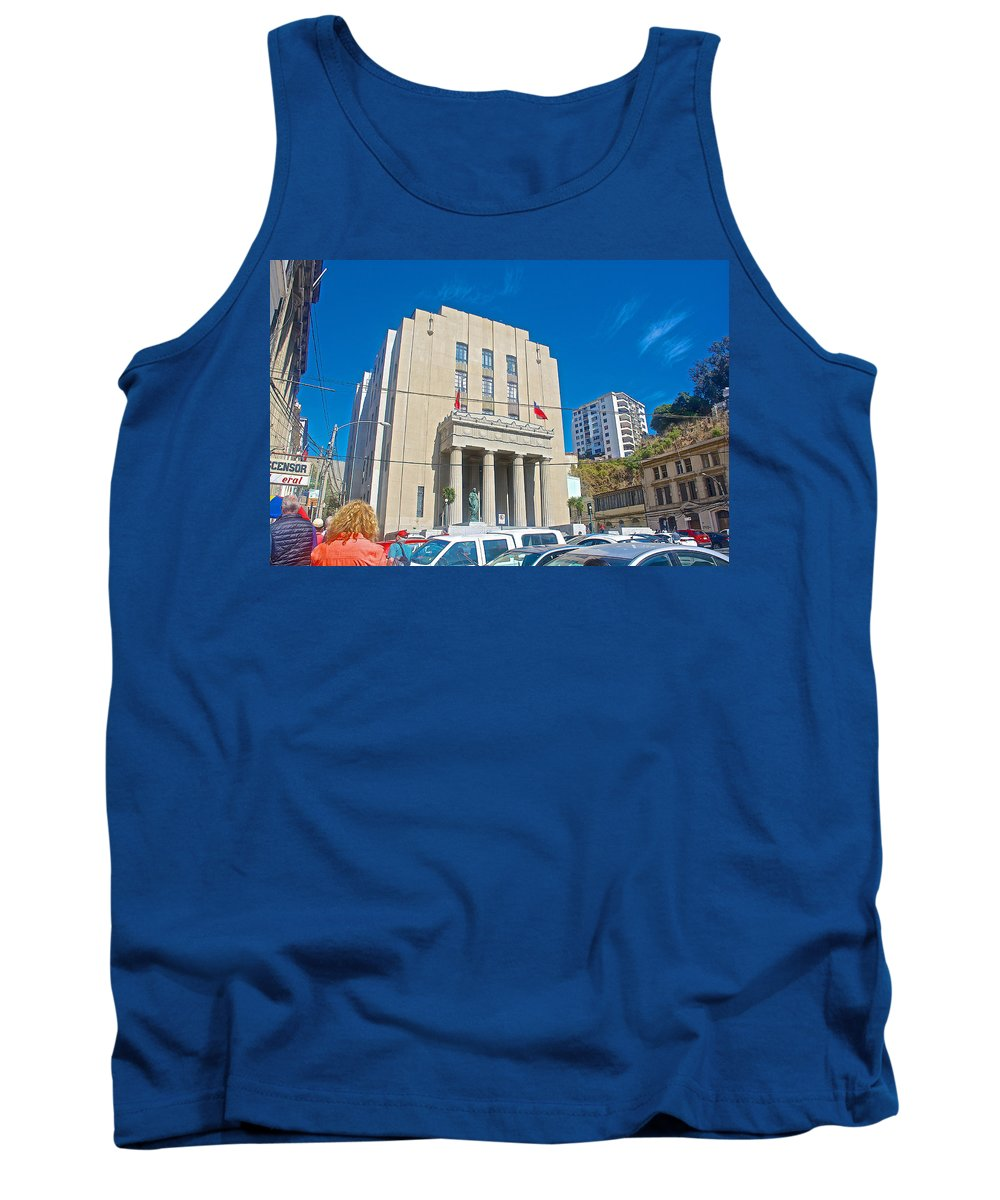 Hall Of Justice In Valparaiso Tank Top featuring the photograph Hall Of Justice In Valparaiso-chile by Ruth Hager