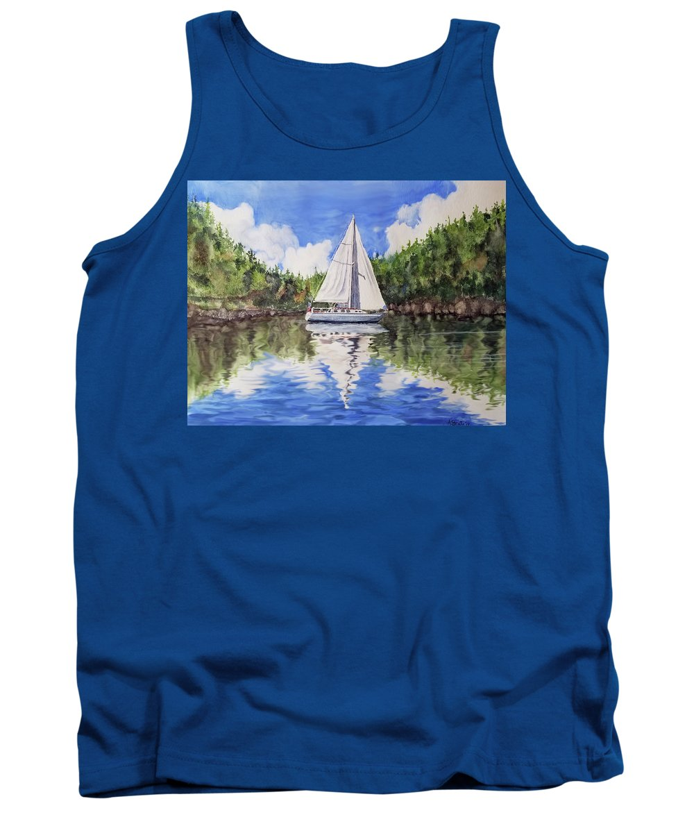 Boating Tank Top featuring the painting Harlequin At Sucia by Aaron Beaty