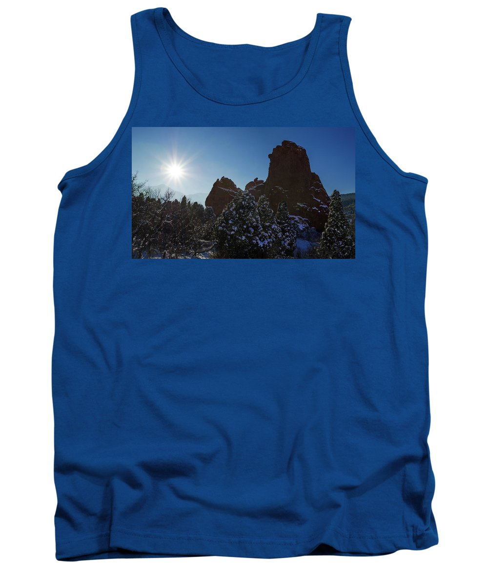 The 3 Graces Rock Formation Tank Top featuring the photograph Helios, The Hellenic Sun God by Bijan Pirnia