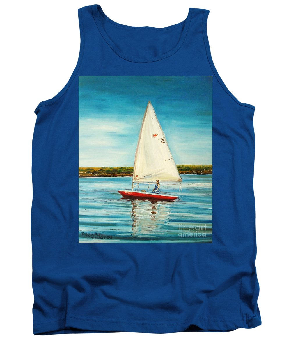 Water Tank Top featuring the painting His Laser by Elizabeth Robinette Tyndall