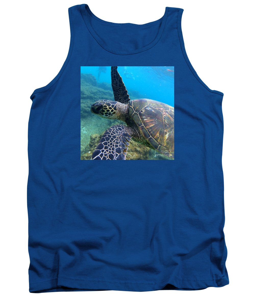 Sea Turtle Tank Top featuring the photograph Honu Hello by Rocky Maes