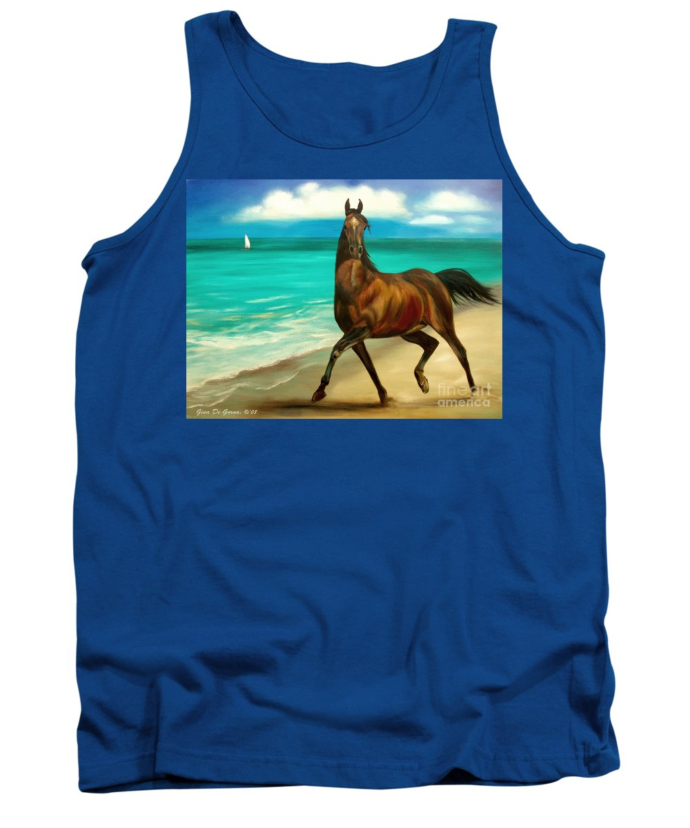 Horse Tank Top featuring the painting Horses In Paradise Dance by Gina De Gorna