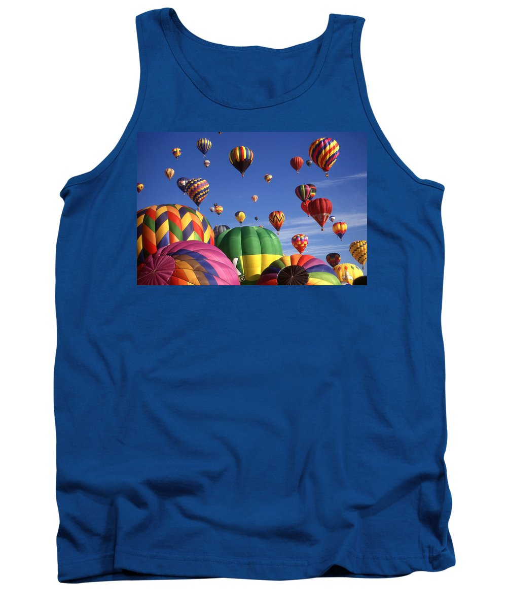 Hot+air+balloons Tank Top featuring the photograph Beautiful Balloons On Blue Sky by Peter Potter