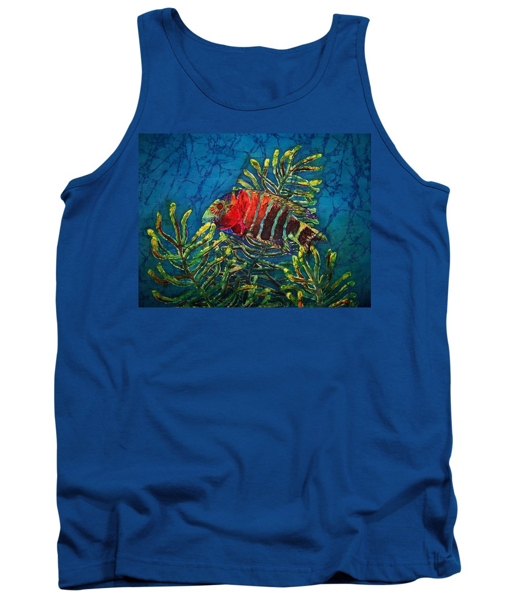 Fish Tank Top featuring the painting Hovering - Red Banded Wrasse by Sue Duda