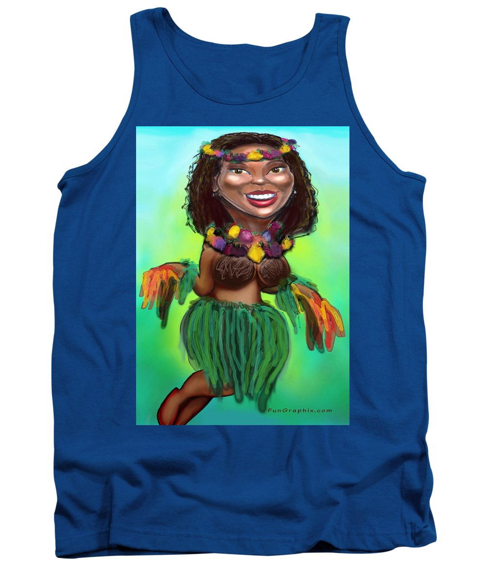 Luau Tank Top featuring the digital art Hula Dancer by Kevin Middleton