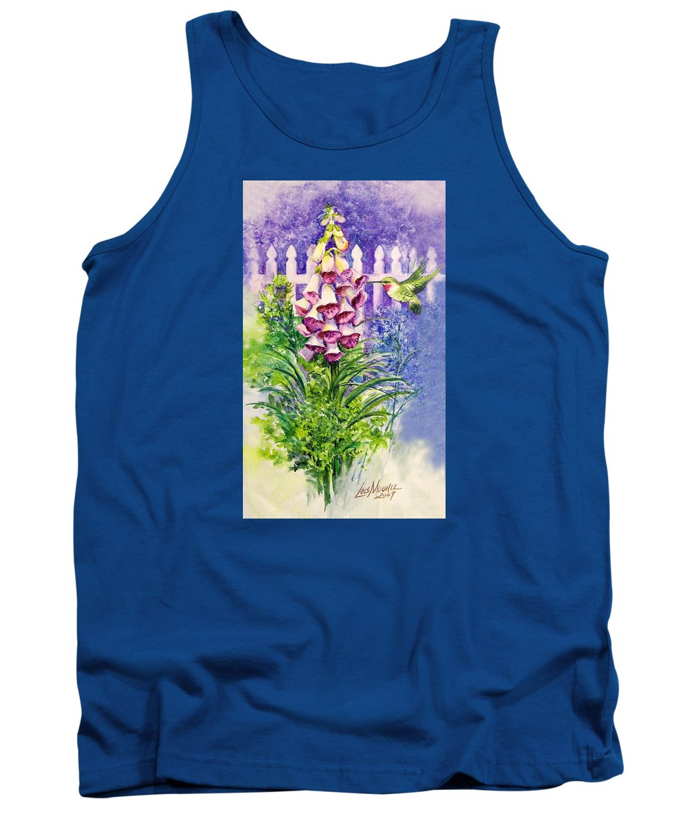 Bird;hummingbird;foxgloves;flowers;floral;fence;picket Fence;impressionistic;watercolor;painting; Tank Top featuring the painting Hummingbird In Foxgloves by Lois Mountz