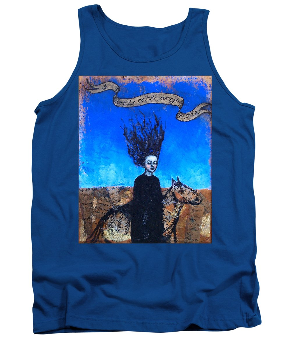 Tank Top featuring the painting IDontCareAnymore by Pauline Lim