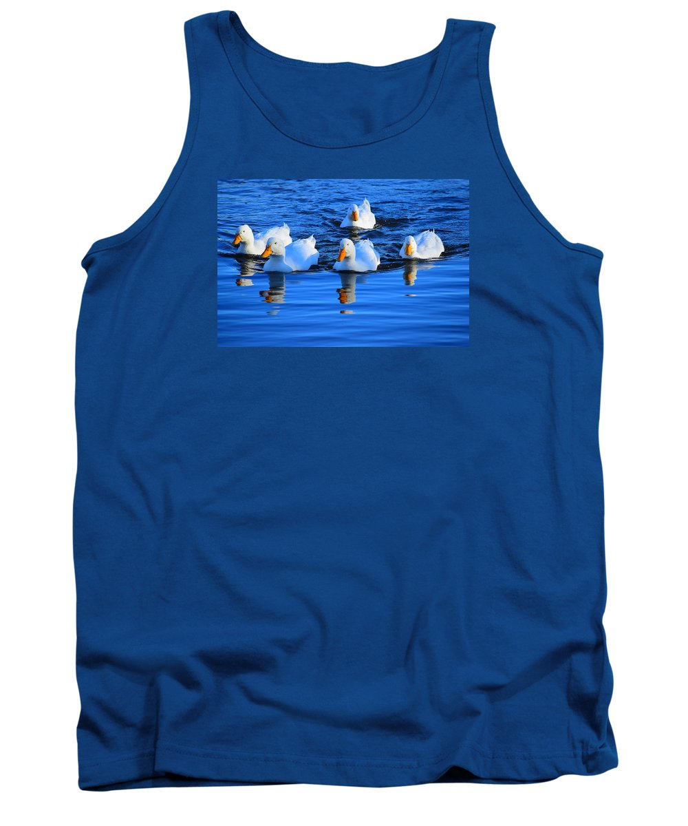 Duck Tank Top featuring the photograph In Formation by Alan C Wade