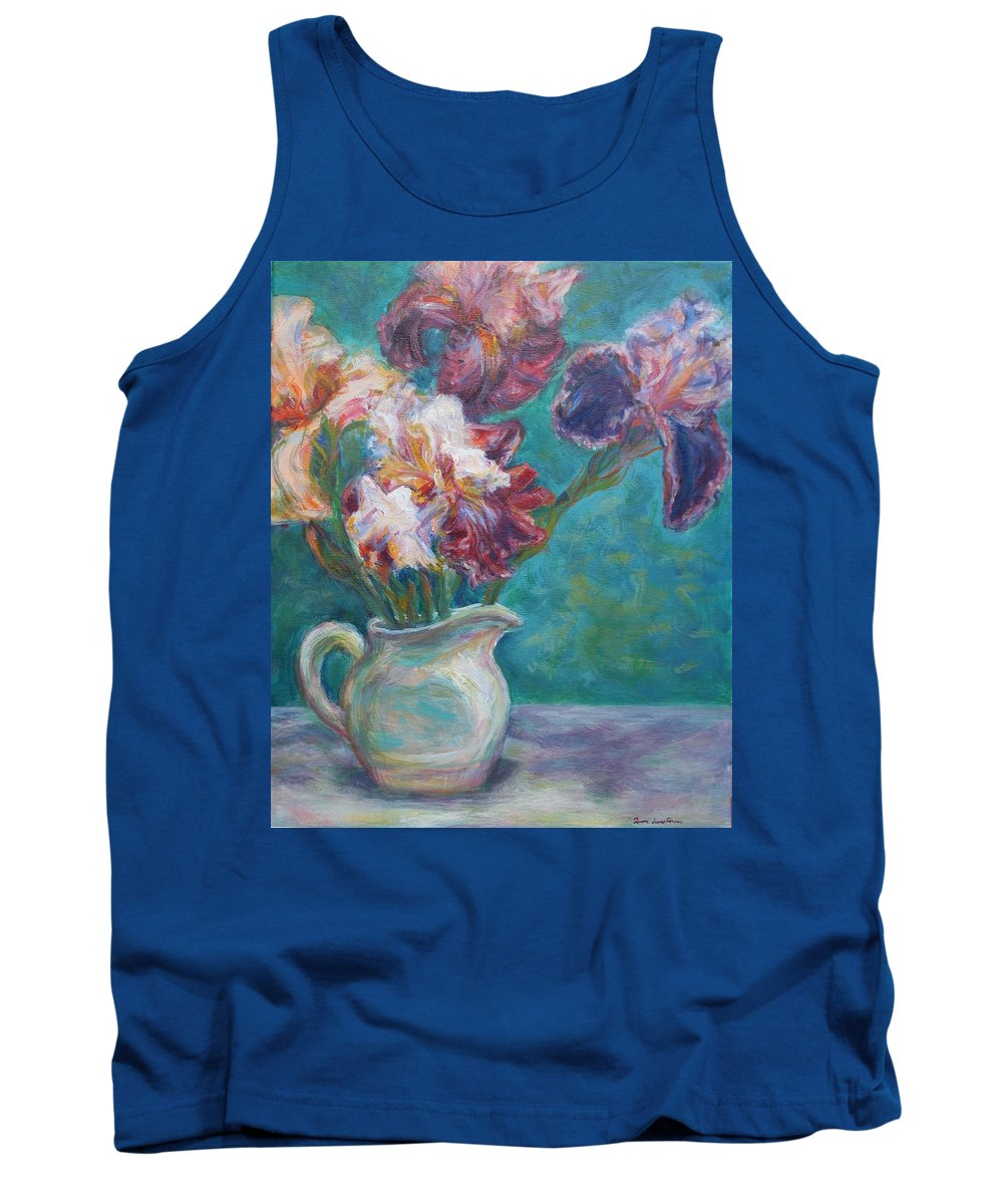 Impressionist Tank Top featuring the painting Iris Medley - Original Impressionist Painting by Quin Sweetman