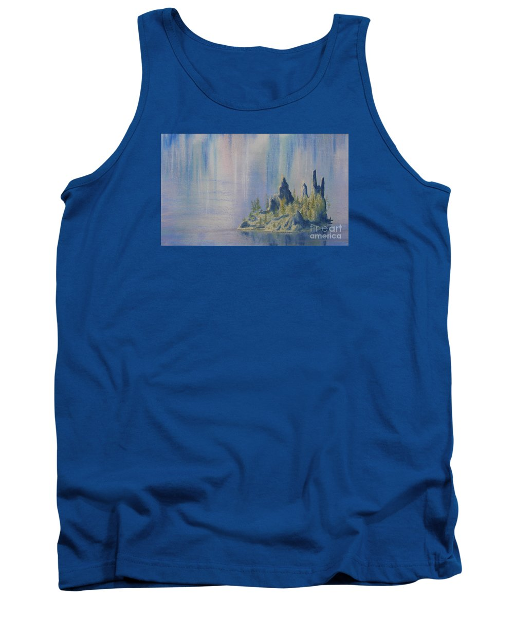 Island Tank Top featuring the painting Isle Of Reflection by Lynn Quinn